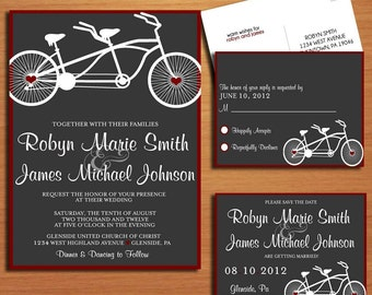 Bicycle Built For Two Modern Wedding Collection / Invitation / RSVP / Save the Date Postcard PRINTABLE / DIY