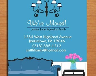 Moving Announcement / Decorated Living Room / Customized Printable DIY