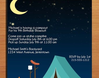 Camping Customized Printable Birthday Party Invitation Cards DIY
