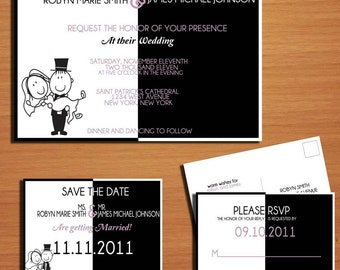 "Black and White ""Better Half"" Stick Figure Couple Wedding Collection / Invitation / RSVP / Save the Date Postcard PRINTABLE / DIY"