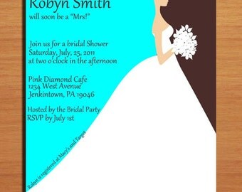 Colorful Bride Silhouette Bridal Shower Customized Printable Invitations /  DIY