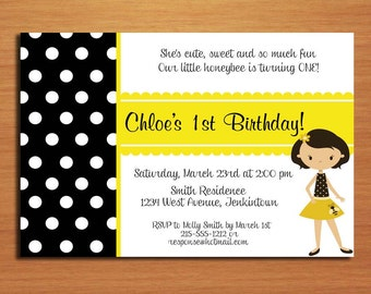 Bumble Bee, Black and Yellow / Birthday Party Invitation Cards PRINTABLE DIY