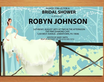 Country Bride Bridal Shower Customized Printable Invitations /  DIY
