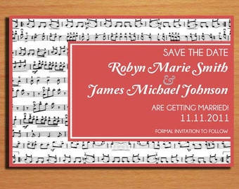 Music Lovers Wedding Save the Date PRINTABLE / DIY