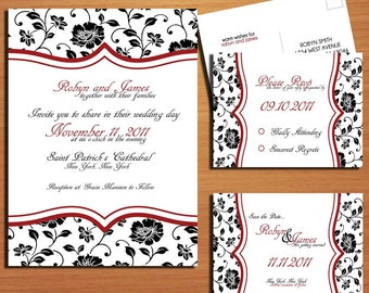 Fancy Floral Wedding Collection / Invitation / RSVP / Save the Date Postcard PRINTABLE / DIY