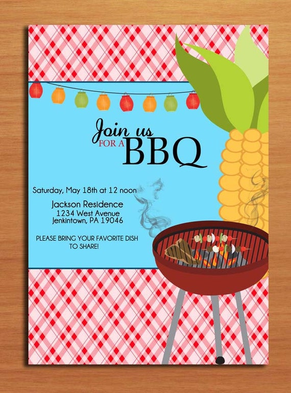 Corn Grill / Customized Printable BBQ Invitation Cards DIY