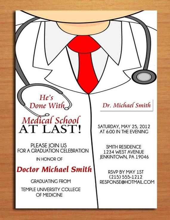 Lab Coat Male / Medical Degree Graduation Party Invitation Cards PRINTABLE DIY