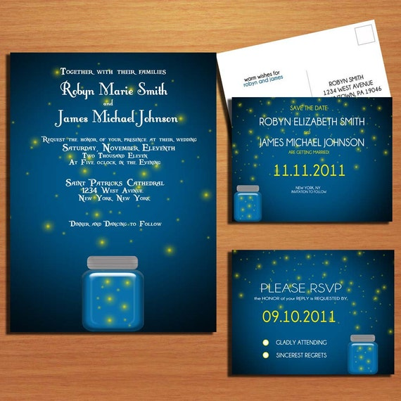 Twilight and Fireflies Wedding Collection / Invitation / RSVP / Save the Date Postcard PRINTABLE / DIY