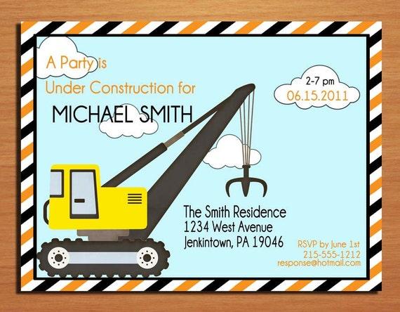 Customized Printable Construction Birthday Party Invitation Cards DIY