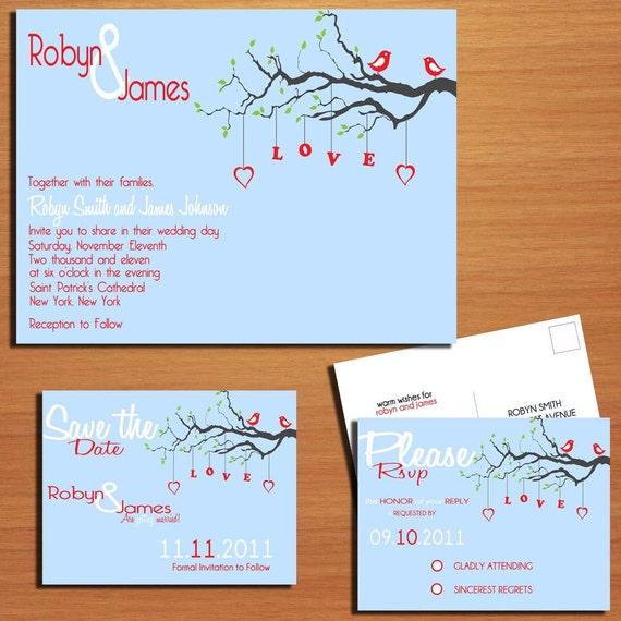 Love Birds Wedding Collection / Invitation / RSVP / Save the Date Postcard PRINTABLE / DIY