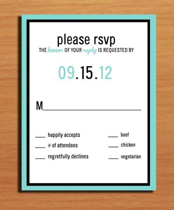 Typography Aqua Wedding RSVP PRINTABLE / DIY