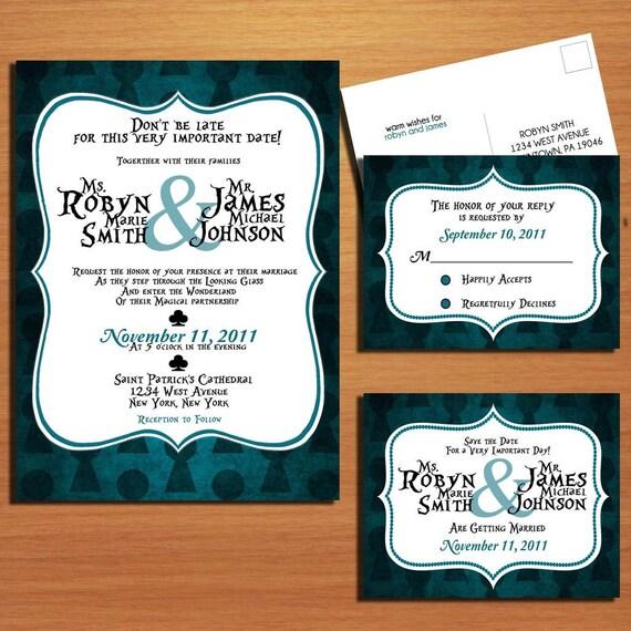 Alice in Wonderland Key Hole Modern Wedding Collection / Invitation / RSVP / Save the Date Postcard PRINTABLE / DIY