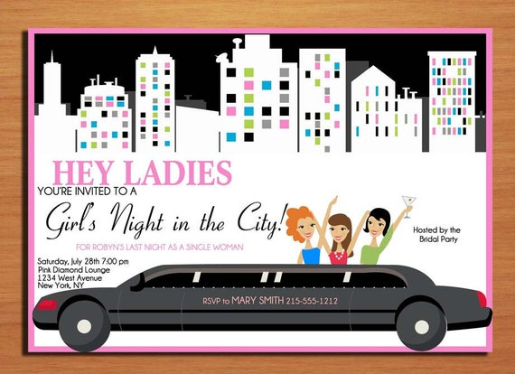 Limo Girl's Night Out Customized Printable Bachelorette Party Invitations /  DIY