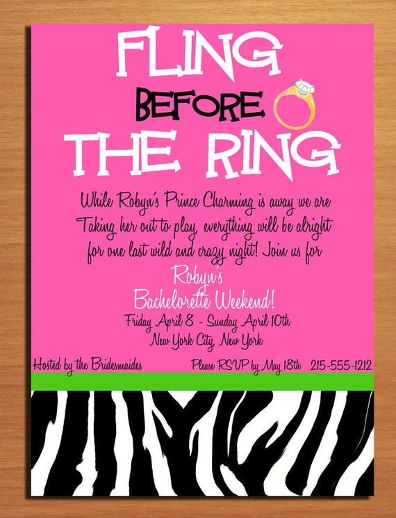 customized printable bachelorette party invitations / fling, Party invitations