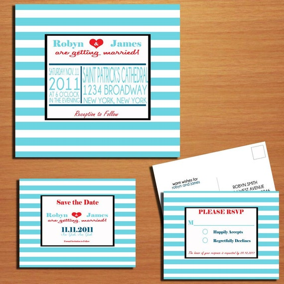 Striped Square Modern Wedding Collection / Invitation / RSVP / Save the Date Postcard PRINTABLE / DIY