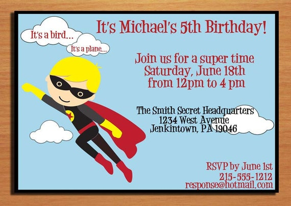 Super Hero Customized Printable Birthday Party Invitation Cards DIY