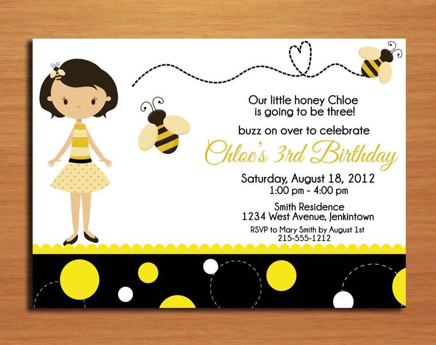 Bumble Bee Honey Bee Birthday Party Invitation Cards