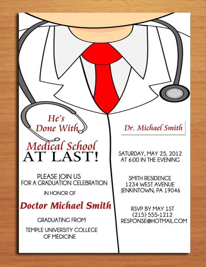 Lab Coat Male / Medical Degree Graduation Party Invitation