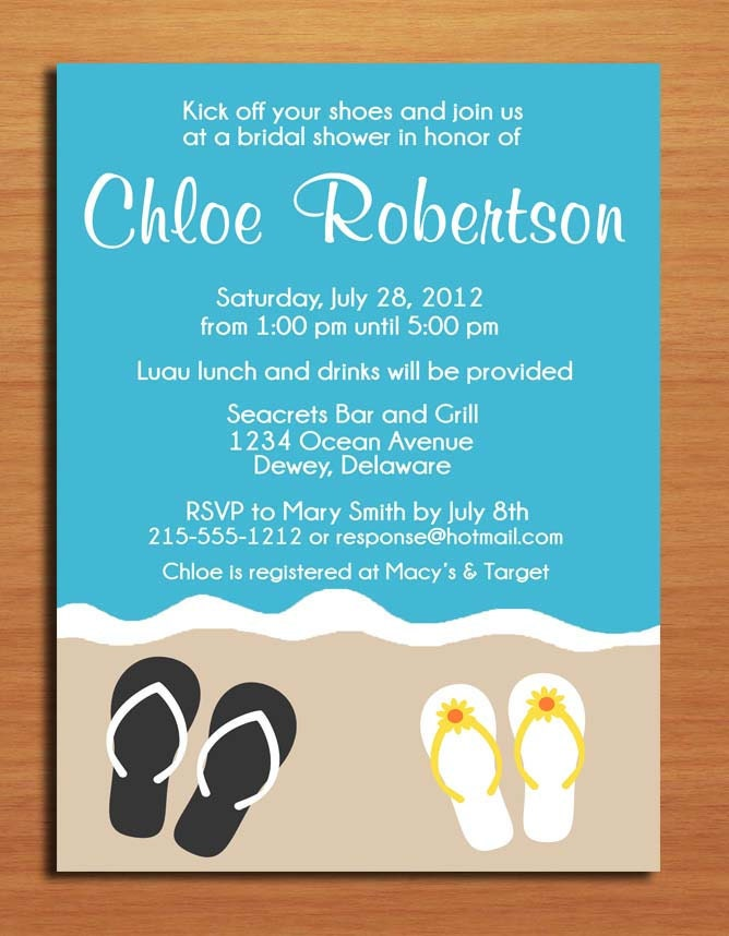 Beach Flip Flop Summer Bridal Shower Customized Printable