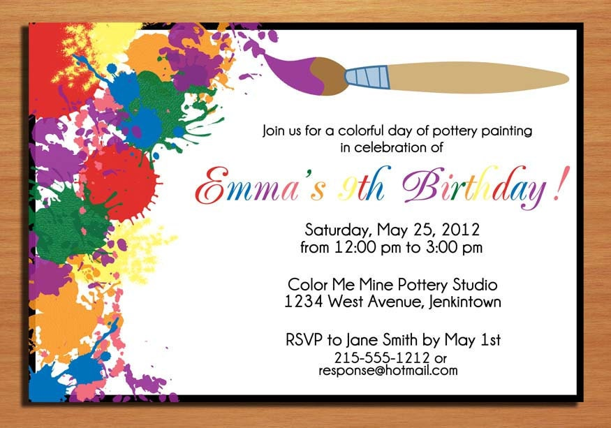 Painting / Artist Customized Printable Birthday Party