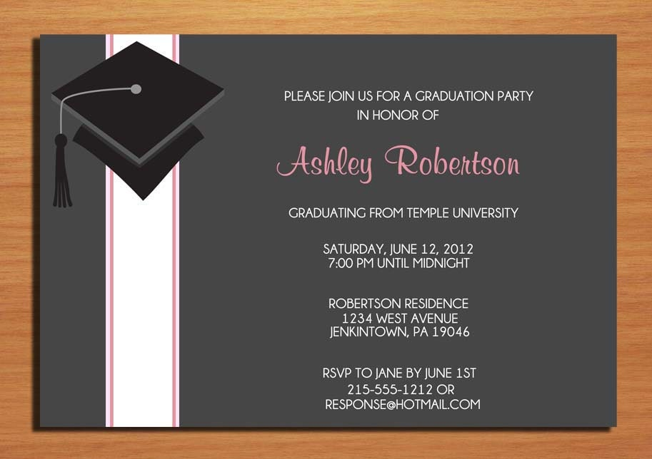 cap and ribbon graduation party invitation cards printable diy