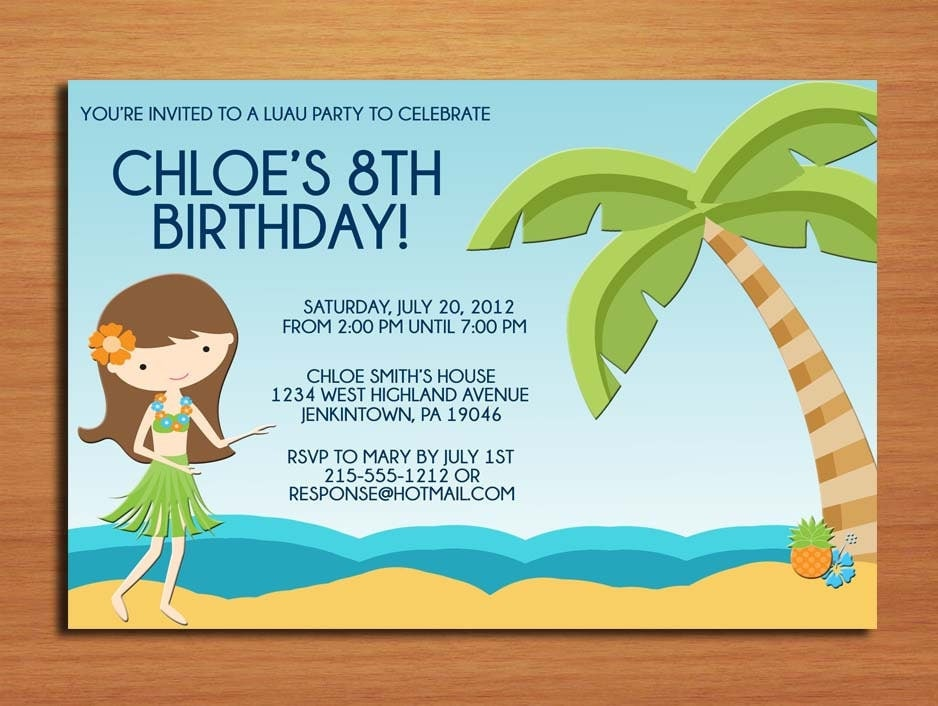 luau beach party    birthday party invitation cards printable