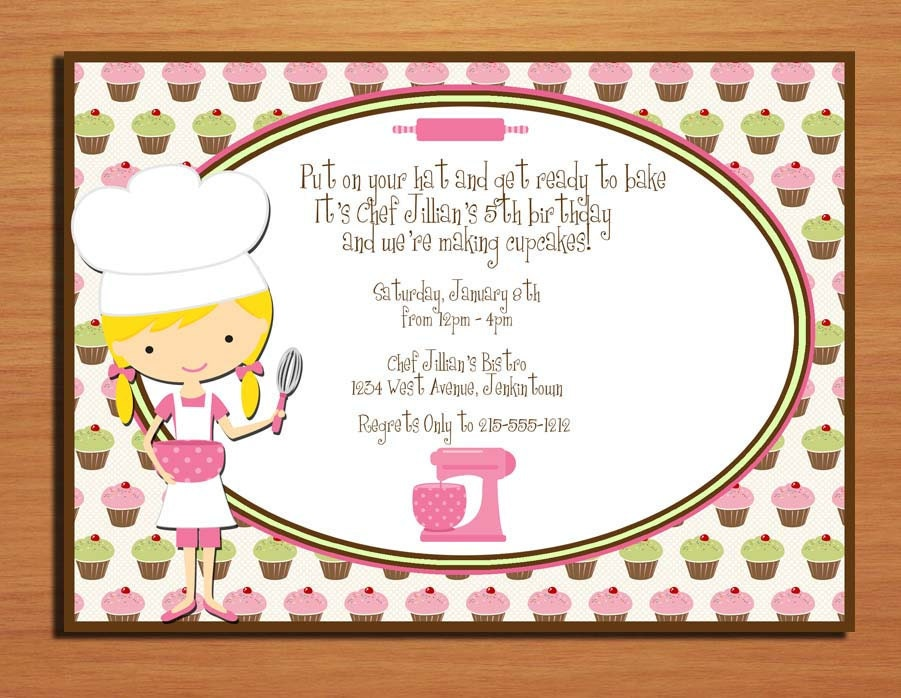Chef / Baker Birthday Party Invitation Cards PRINTABLE DIY