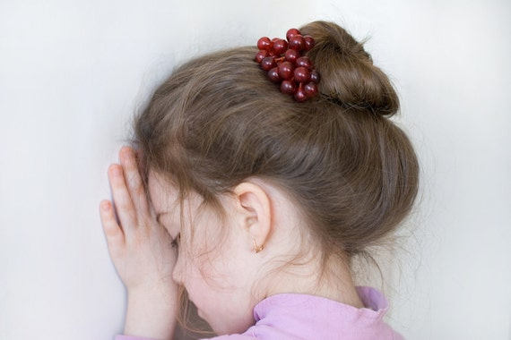 Hair Bobby Pin - Hair Clip - Red amethyst grapes - hair accessories