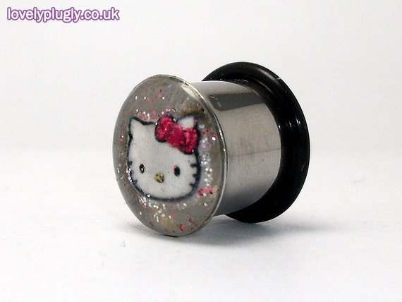 "Hello Kitty in a Sea of Glitter Plug 12mm / 1/2"" Single-Flared 316L Surgical Steel SINGLE OOAK - Ready Now"