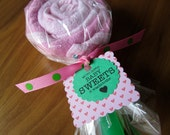 washcloth lollipop - girl baby shower new mom gift - pink - set of 2 washcloths plus spoon