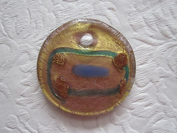 Fused Glass Pendant- Gold Tribal