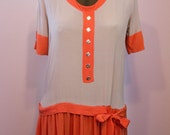 1920's Orange and Grey Silk Flapper Dress // Halloween Colors