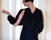 1930's Black Slinky Art Deco Slit Sleeves Evening Gown