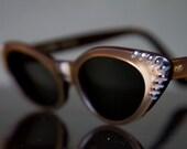 "1950's Rhinestone Cat Eye Sunglasses by American Optical ""Temptress"""