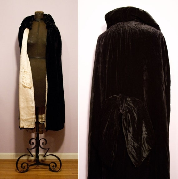 1920's Black Silk Velvet Opera Cape with Large Bow