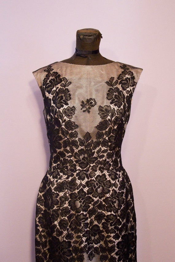 1950's Lillie Diamond Black and Pink Illusion Lace Wiggle Cocktail Dress