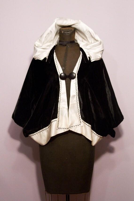 1930's Black and White Velvet Hooded Cape