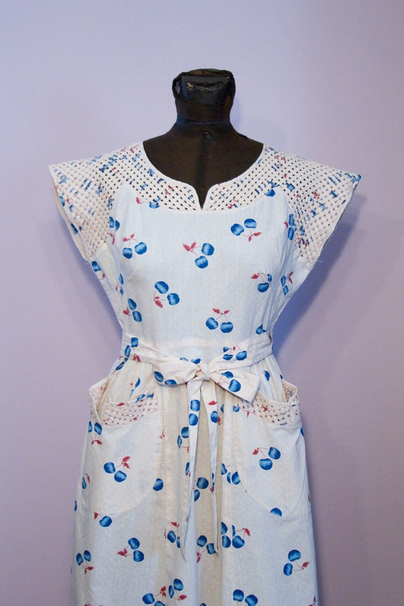 1940's Blue Cherry Swirl Wrap Dress with Garden Trellis