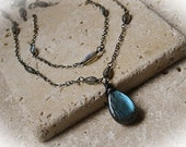 Labradorite and sterling silver double strand necklace