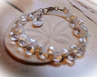 Rock crystal quartz and pearl bracelet
