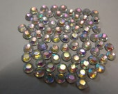 100 x 4mm crystal AB hotfix / iron-on rhinestones