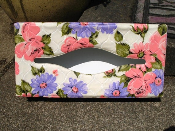 RESERVE for Victorian Lady Vintage 60s Mod Retro Floral Purple and Pink Tissue Box Kleenex Box