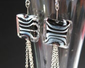 Zebra Print Glass Bead Earrings