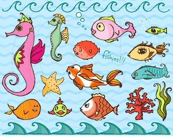 Fun Fishes Vector Graphics Set for Personal and Commercial Use