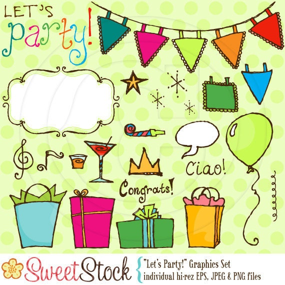 Lets Party Vector Graphics Set for Personal and Commercial Use