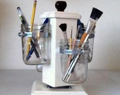Rotating Ball Jar Desk Caddy, Mason Jar Organizer, Desk Organizer, Utensil Holder, Paint Brush Holder, Make-up Organizer, Bathroom Caddy