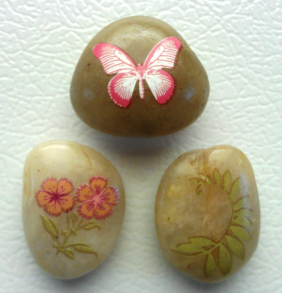 River Rocks Neo Magnets, 3 Super Strong, Pink Butterfly, Flowers, Frond