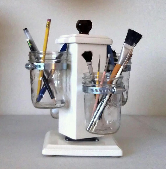 Items similar to rotating ball jar desk caddy mason jar - Spinning desk organizer ...