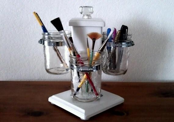 Rotating Ball Jar Desk Caddy, Desk Organizer, Utensil Caddy, Paint Brush, Pen, Pencil Holder, Make-up Organizer, Bathroom Caddy