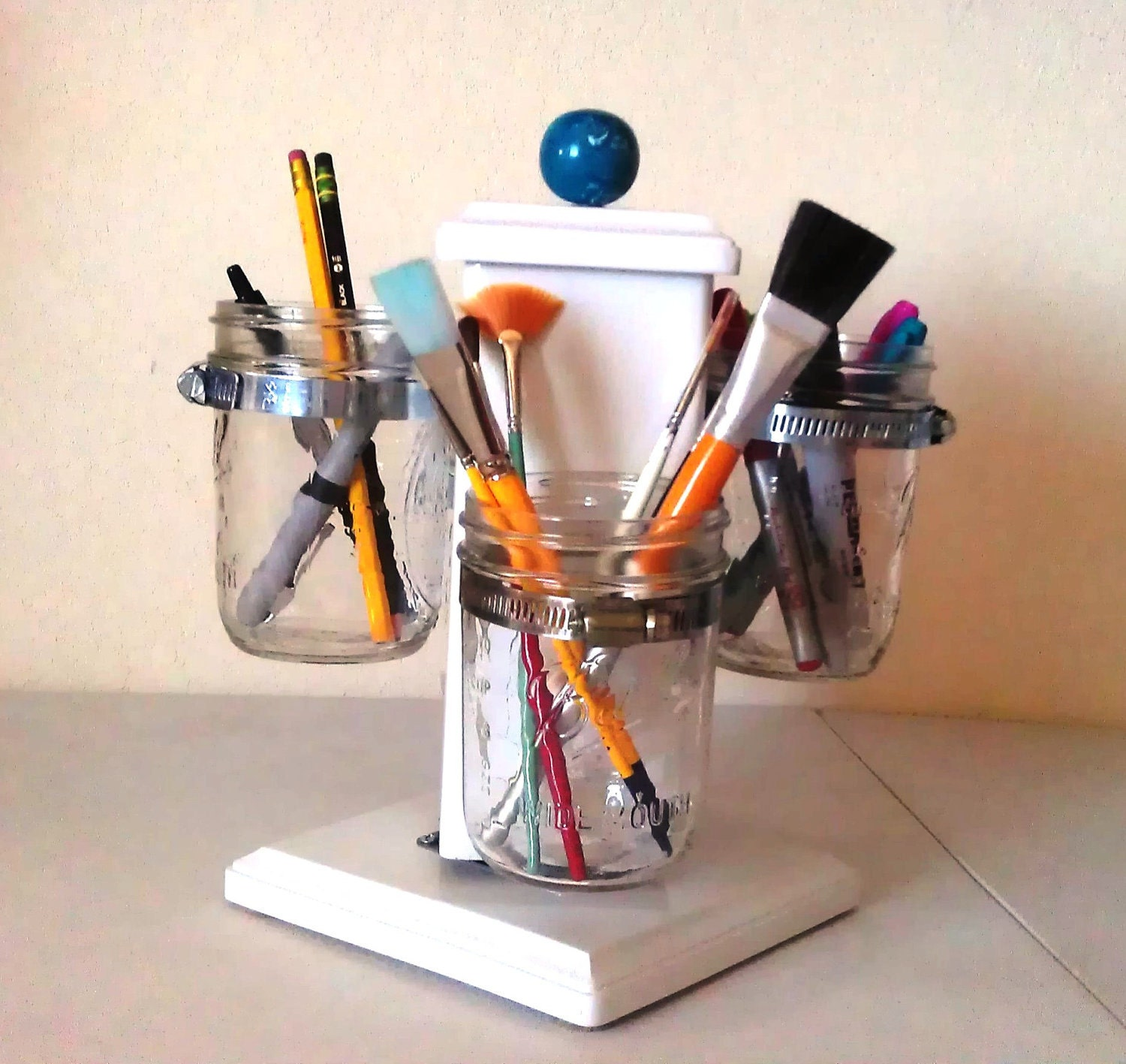 Items similar to rotating ball jar desk caddy desk - Spinning desk organizer ...